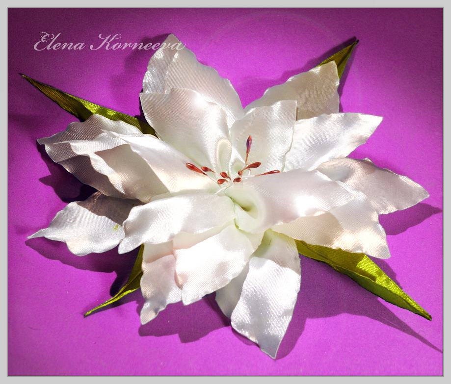 Цветы кувшинки из атласных лент 145
